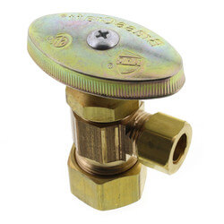 """5/8"""" O.D. Compr x 3/8"""" O.D. Compr Angle Stop,<br>Lead Free (Rough Brass) Product Image"""