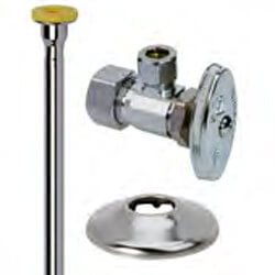 """1/2"""" x 1/2"""" Compression Toilet Supply Kit - Angle Stop, 12"""" (Chrome) Product Image"""