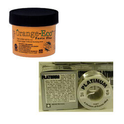 Orange-Eco Paste Flux (2 Oz.) & Platinum Solder (1/2 lb) w/ Brush