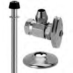 "1/2"" FIP x 3/8"" Flare Faucet Supply Kit - Angle Stop, 17"" (Chrome) Product Image"