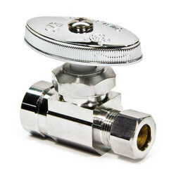 "3/8"" FIP x 3/8"" O.D. Compr. Straight Stop Valve, Lead Free (Chrome Plated)"
