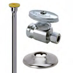 "3/8"" FIP x 3/8"" OD Comp Toilet Supply Kit - Straight Stop Valve, 12"" (Chrome) Product Image"