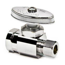 "1/2"" FIP x 3/8"" O.D. Compr. Straight Stop Valve, Lead Free (Chrome Plated)"