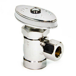 "3/8"" FIP x 3/8"" O.D. Compr. Angle Stop Valve, Lead Free (Chrome Plated)"