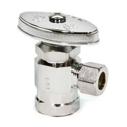 "1/2"" FIP x 3/8"" O.D. Compr. Angle Stop Valve, Lead Free (Chrome Plated)"
