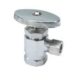 "1/2"" FIP x 3/8"" O.D. Compr. Angle Stop Valve, Brass Stem (Chrome Plated)"
