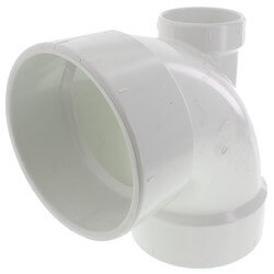 "4"" PVC DWV 90° Elbow<br>(w/ 2"" Low Heel Inlet) Product Image"