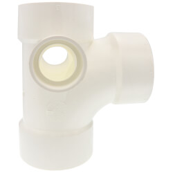 "3"" PVC DWV Sanitary Tee w/ 1-1/2"" R and L Side Inlets"