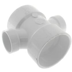"3"" x 1-1/2"" PVC DWV Double Sanitary Tee"