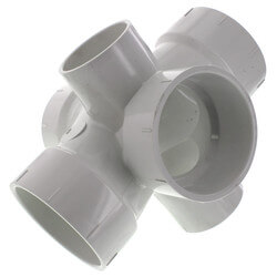 "4"" PVC DWV Double Sanitary Tee w/ 2"" R & L Side Inlets"