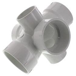 "3"" PVC DWV Double Sanitary Tee w/ 2"" R & L Side Inlets"