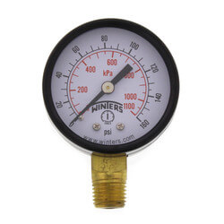 "2"" PEM Dual Scale Economy Pressure Gauge (0-160 PSI) Product Image"