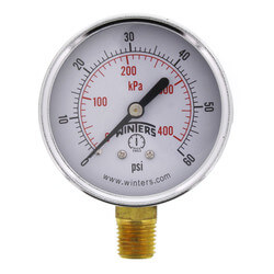 "2-1/2"" PEM Dual Scale Economy Pressure Gauge (0-60 PSI) Product Image"