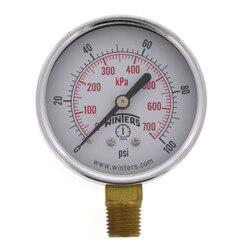 "2-1/2"" PEM Dual Scale Economy Pressure Gauge (0-100 PSI) Product Image"