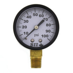 "1/4"" NPT, 2"" Dial, Lower Mount No Lead Pressure Gauge (0-100 PSI) Product Image"