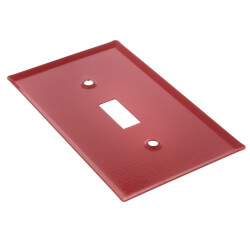"""Red Emergency Gas Burner Cover Plate w/ white text (6.75"""" x 3"""") Product Image"""