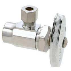 "1/2"" Nom. Sweat x 1/4"" O.D. Compr. Chrome Plated Stop Valve w/ Window Tray"