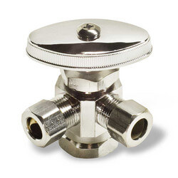 "1/2"" FIP Inlet x 3/8"" O.D. Compr. x 3/8"" O.D. Compr. Dual Outlet Valve, Lead Free (Chrome Plated)"