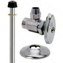 "1/2"" x 3/8"" Compression Faucet Supply Kit - 1/4 Turn Angle, 12"" (Chrome) Product Image"