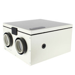 "SH Series Heat Recovery Ventilator w/ Fan Shutdown Defrost, 4"" Side Ports (up to 1,400 Sq. Ft.)"