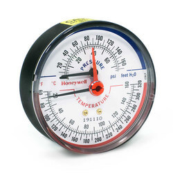 "1/4"" NPT, 3-1/8"" Face, Temperature & Pressure Gauge (Tridicator)"