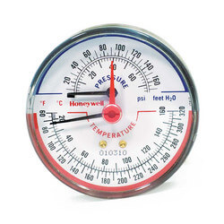 "1/4"" NPT, 3-1/8"" Face, Long Probe Temperature & Pressure Gauge (Tridicator)"
