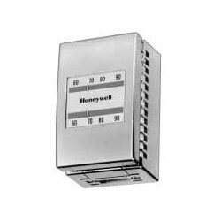 Pneumatic Thermostat Direct Acting Heating, includes small wall plate and satin chrome cover (Day/Night Setpoint)