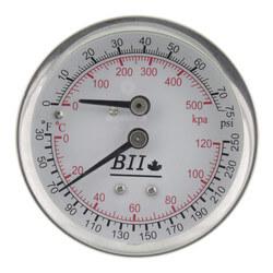 "1/4"" NPT, 2.5"" Face, Temp & Press. Gauge (Tridicator) Product Image"