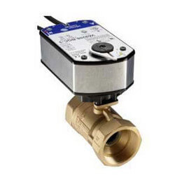 "1-1/4"" NPT 2-Way Brass<br>Valve with VA9208<br>Floating On/Off Actuator Product Image"