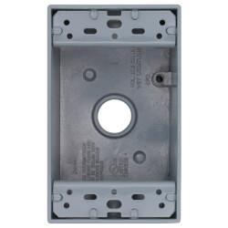 "Single Gang 1/2"" 4 Holes Weather Proof Box (Grey) Product Image"