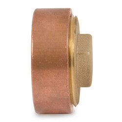 "2"" Cast Copper DWV Flush Cleanout Adapter w/ Plug (FTG x Cleanout)"