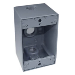 """Single Gang 1/2"""" 3 Holes Deep Weather Proof Box (White) Product Image"""