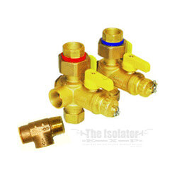"3/4"" IPS Tankless Heater Iso Valves w/ Relief Valve (Lead Free)"