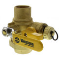 "1-1/2"" Full Port Forged Brass Ball Valve w/ Single Union End, Hi Flow Hose Drain & Reversible Handle"