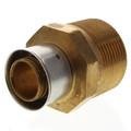 "Bronze 1"" PEX Press x 1-1/4"" M NPT Adapter w/ Attached Sleeve"