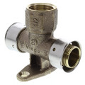 "Zero Lead Bronze 1"" x 3/4"" PEX Press x 1/2"" F NPT Fire Sprinkler Tee w/ Attached Sleeve (Horizontal)"