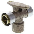 "Zero Lead Bronze 3/4"" x 3/4"" PEX Press x 1/2"" F NPT Fire Sprinkler Tee w/ Attached Sleeve (Horizontal)"