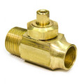 "1/2"" Copper Pipe x 1/2"" MIP Integral Shut-Off Stop Less Lock Shield Screwdriver Slot (Rough Brass)"