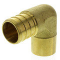 "3/4"" PEX x 1/2"" Copper Pipe Brass Elbow (Lead Free)"