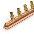 "1"" Copper Branch Manifold, 6 LF Brass Outlets, 3/4"" ProPEX Inlet"