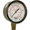 "4"" Stainless Steel Dual Scale Liquid Filled Gauge, 1/4"" Bottom (0-100 PSI)"