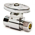 "1/2"" Nom. Sweat x 3/8"" O.D. Compr. Straight Stop Valve, Lead Free (Chrome Plated)"