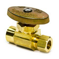 "1/2"" Nom. Sweat x 3/8"" O.D. Compr. Straight Stop Valve, Lead Free (Rough Brass)"