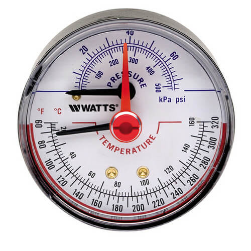"DPTG-3L 2-1/2"" Pressure & Temperature Gauge (0-75 psi) Product Image"