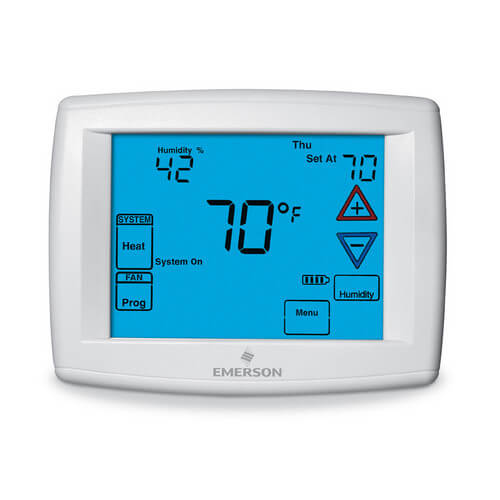 Blue Easy Install Universal 4-Wire Programmable Touchscreen Thermostat w/ Outdoor Remote Sensor