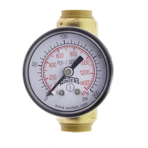 "SharkBite Pressure Gauge with 1/2"" Tee (Lead Free) Product Image"