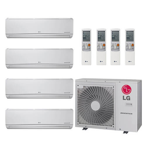 32,000 BTU 22 SEER Ductless Four Zone Heat Pump Package (9+9+9+18) Product Image