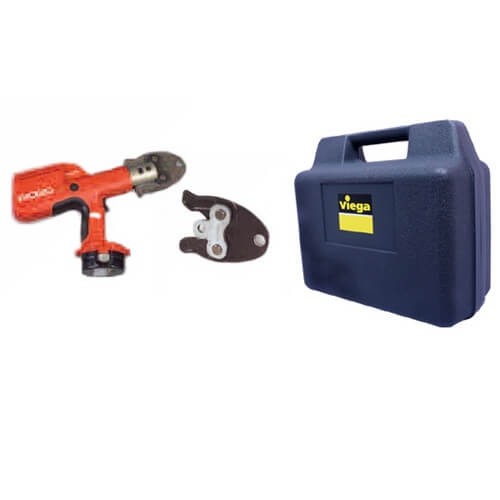 "Compact Battery Press Tool Kit with 1/2"", 3/4"" & 1"" PEX Press Jaws"