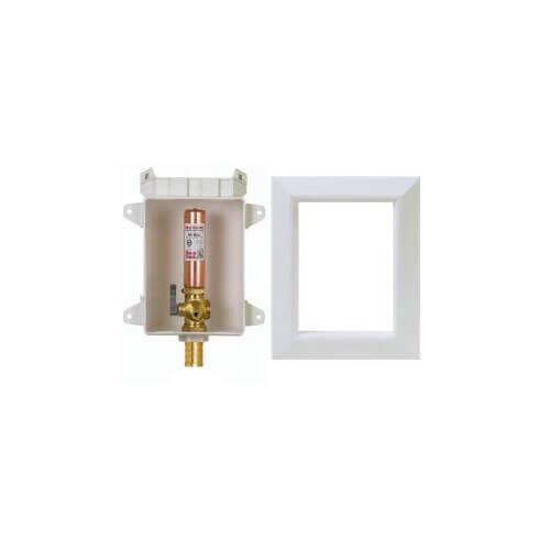 "Ox Box Ice Maker Outlet Box w/ Water Hammer Arrestor - 1/2"" Male PEX Connection Product Image"