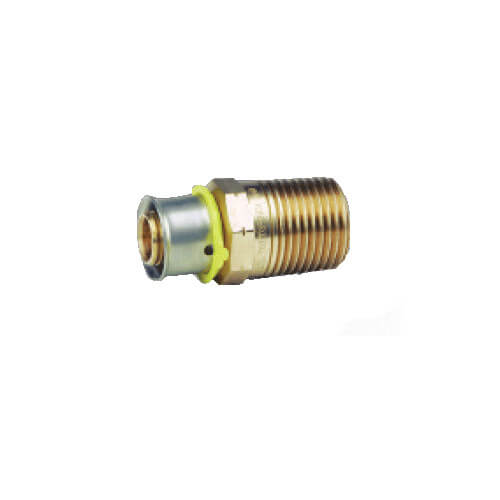 "Bronze 3/4"" PEX Press x 1"" M NPT Adapter w/ Attached Sleeve"